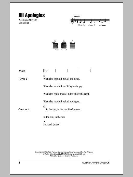 all apologies sheet music by nirvana  lyrics  u0026 chords