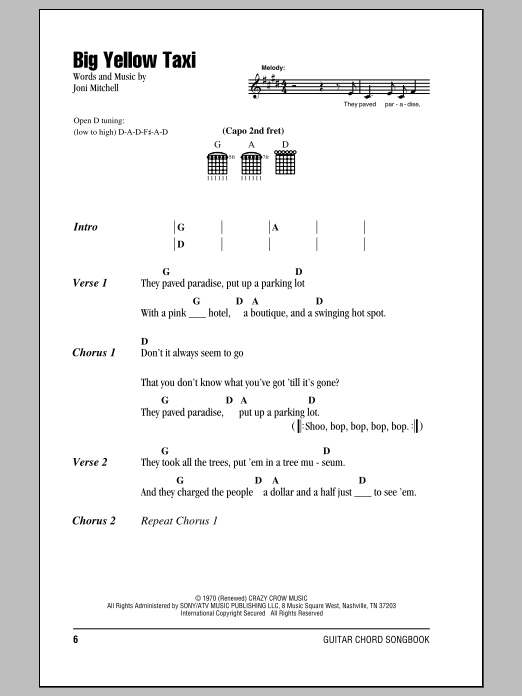 Big Yellow Taxi (feat. Vanessa Carlton) Sheet Music | Counting Crows ...