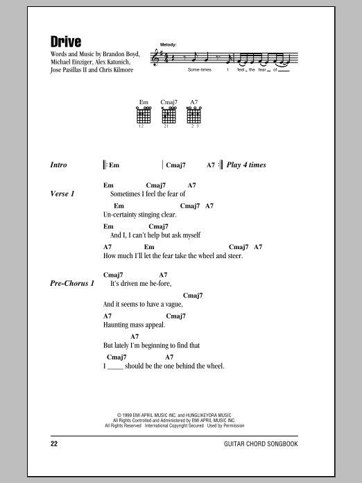 Drive sheet music by Incubus (Lyrics & Chords – 153202)
