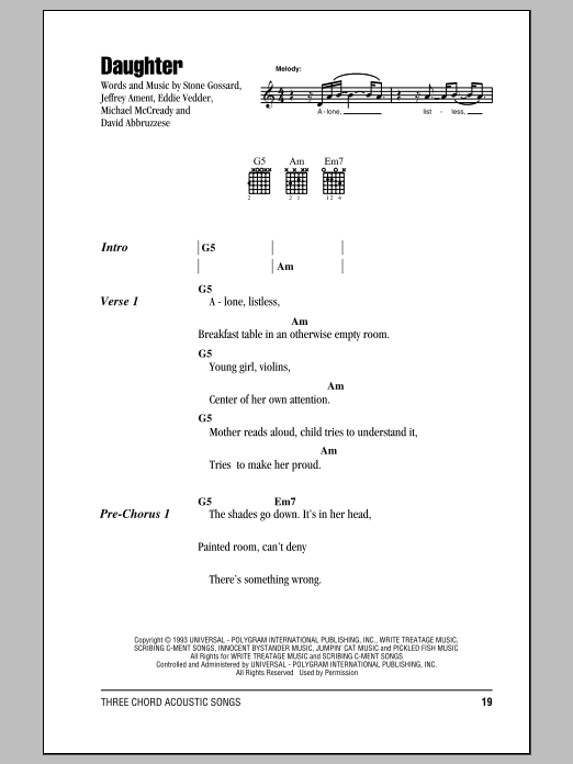 Daughter Sheet Music Pearl Jam Lyrics Chords