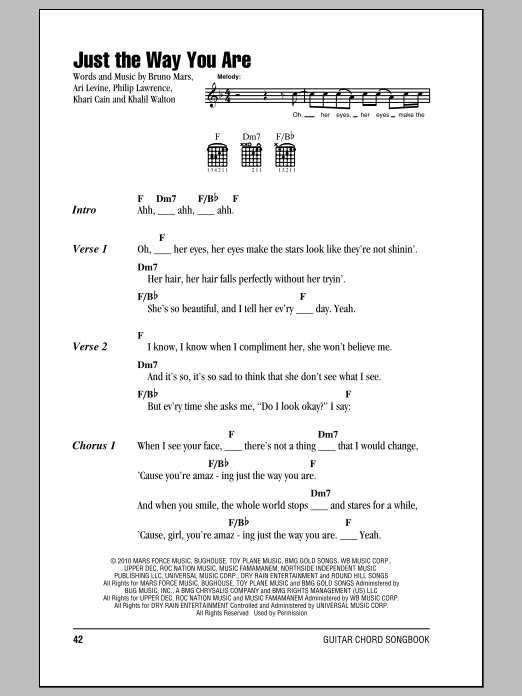 Just The Way You Are Sheet Music By Bruno Mars Lyrics Chords