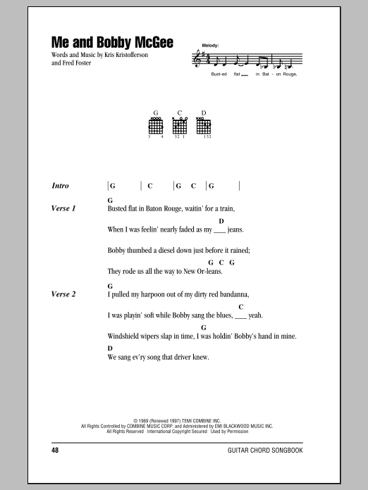 Me And Bobby McGee Sheet Music
