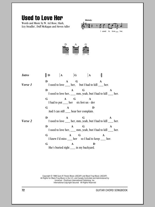 Used To Love Her by Guns N\' Roses - Guitar Chords/Lyrics - Guitar ...