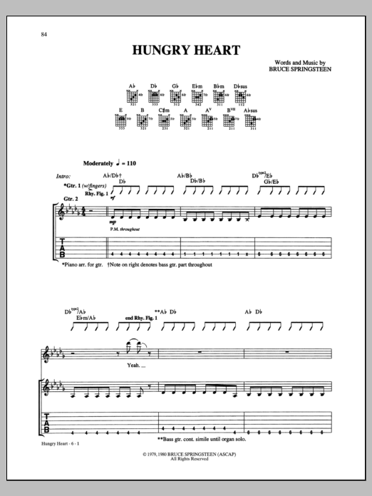 Hungry Heart Sheet Music