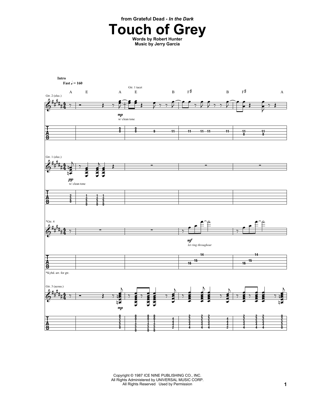 Touch Of Grey Sheet Music