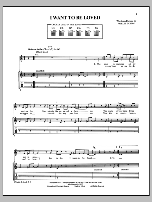 I Want To Be Loved Sheet Music