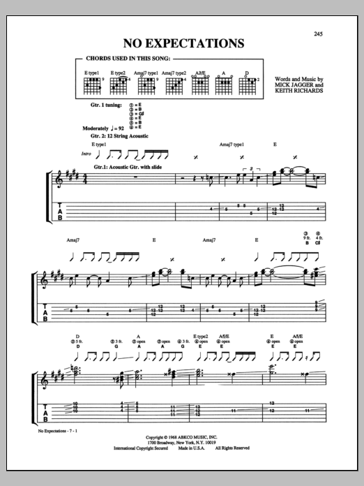 No Expectations Sheet Music