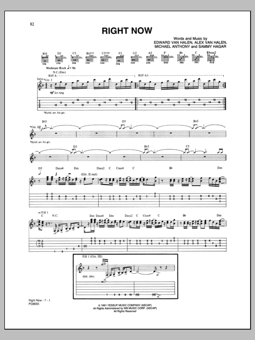Tablature guitare Right Now de Van Halen - Tablature Guitare