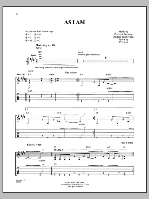 As I Am Sheet Music