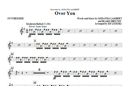 Over You (complete set of parts) sheet music for orchestra/band by Ed Lojeski, Blake Shelton and Miranda Lambert. Score Image Preview.