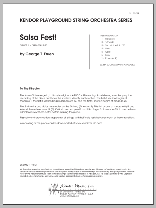 Salsa Fest! (COMPLETE) sheet music for orchestra by George T. Frueh. Score Image Preview.