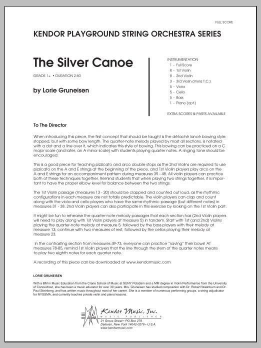 Silver Canoe, The (COMPLETE) sheet music for orchestra by Lorie Gruneisen. Score Image Preview.