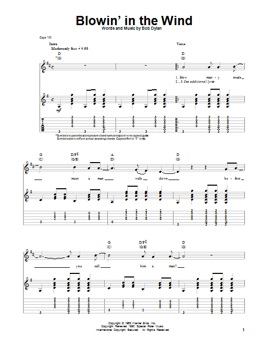 Tablature guitare Blowin' In The Wind de Bob Dylan - Autre