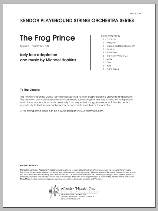 Frog Prince, The (COMPLETE) sheet music for orchestra by Michael Hopkins. Score Image Preview.
