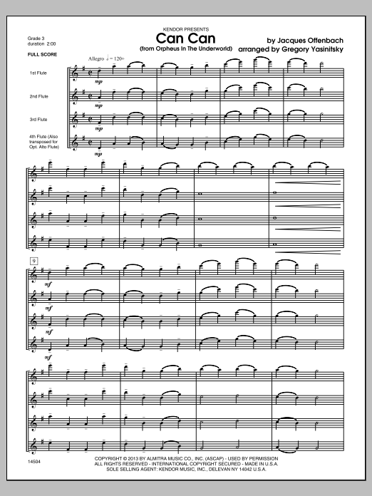 Can Can (from Orpheus In The Underworld) (COMPLETE) sheet music for flute quartet by Offenbach and Gregory Yasinitsky. Score Image Preview.