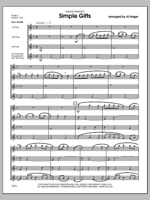 Simple Gifts (COMPLETE) sheet music for flute quartet by Al Hager. Score Image Preview.