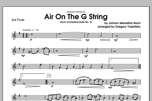 Air On The G String (from Orchestral Suite No. 3) - 3rd Flute Sheet Music