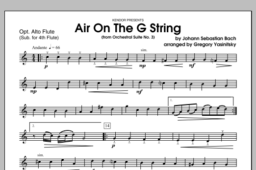 Air On The G String (from Orchestral Suite No. 3) - Alto Flute Sheet Music