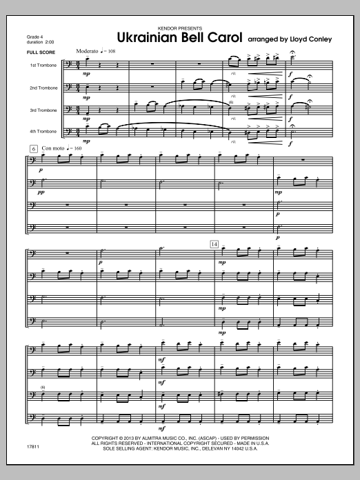 Ukrainian Bell Carol (COMPLETE) sheet music for four trombones by Lloyd Conley. Score Image Preview.