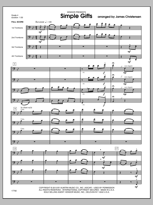 Simple Gifts (COMPLETE) sheet music for four trombones by James Christensen. Score Image Preview.