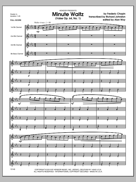Minute Waltz (Valse Op. 64, No. 1) (COMPLETE) sheet music for clarinet quartet by Frederic Chopin and Richard Johnston. Score Image Preview.