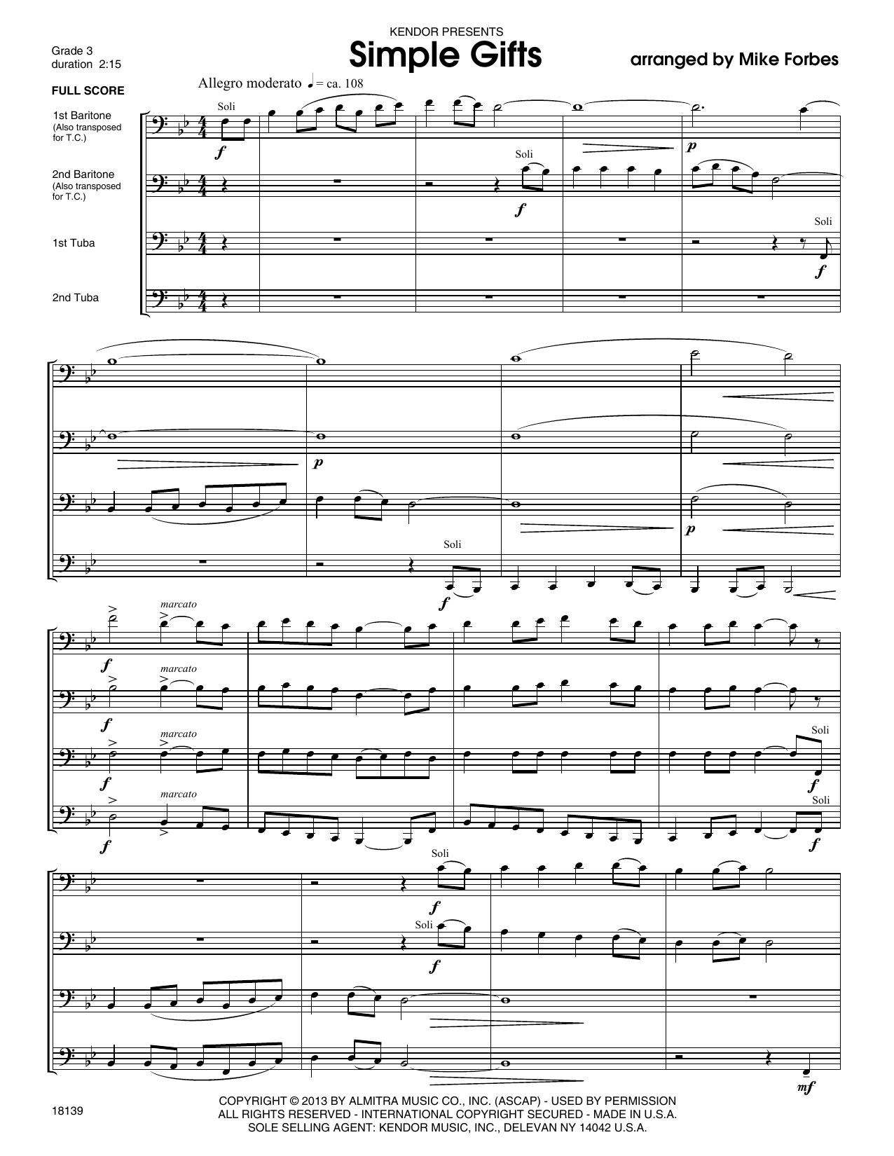 Simple Gifts - Full Score Sheet Music