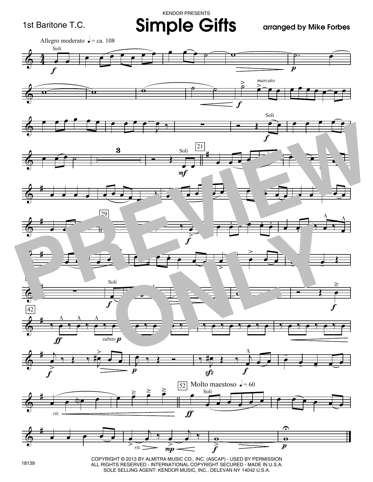 Simple Gifts - 1st Baritone T.C. Sheet Music