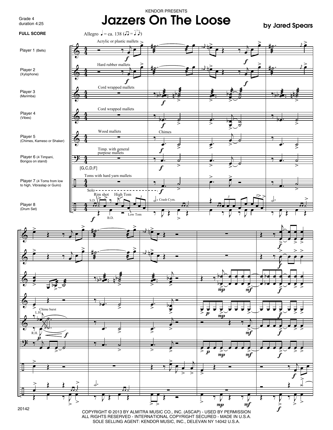 Jazzers On The Loose (COMPLETE) sheet music for percussions by Jared Spears. Score Image Preview.