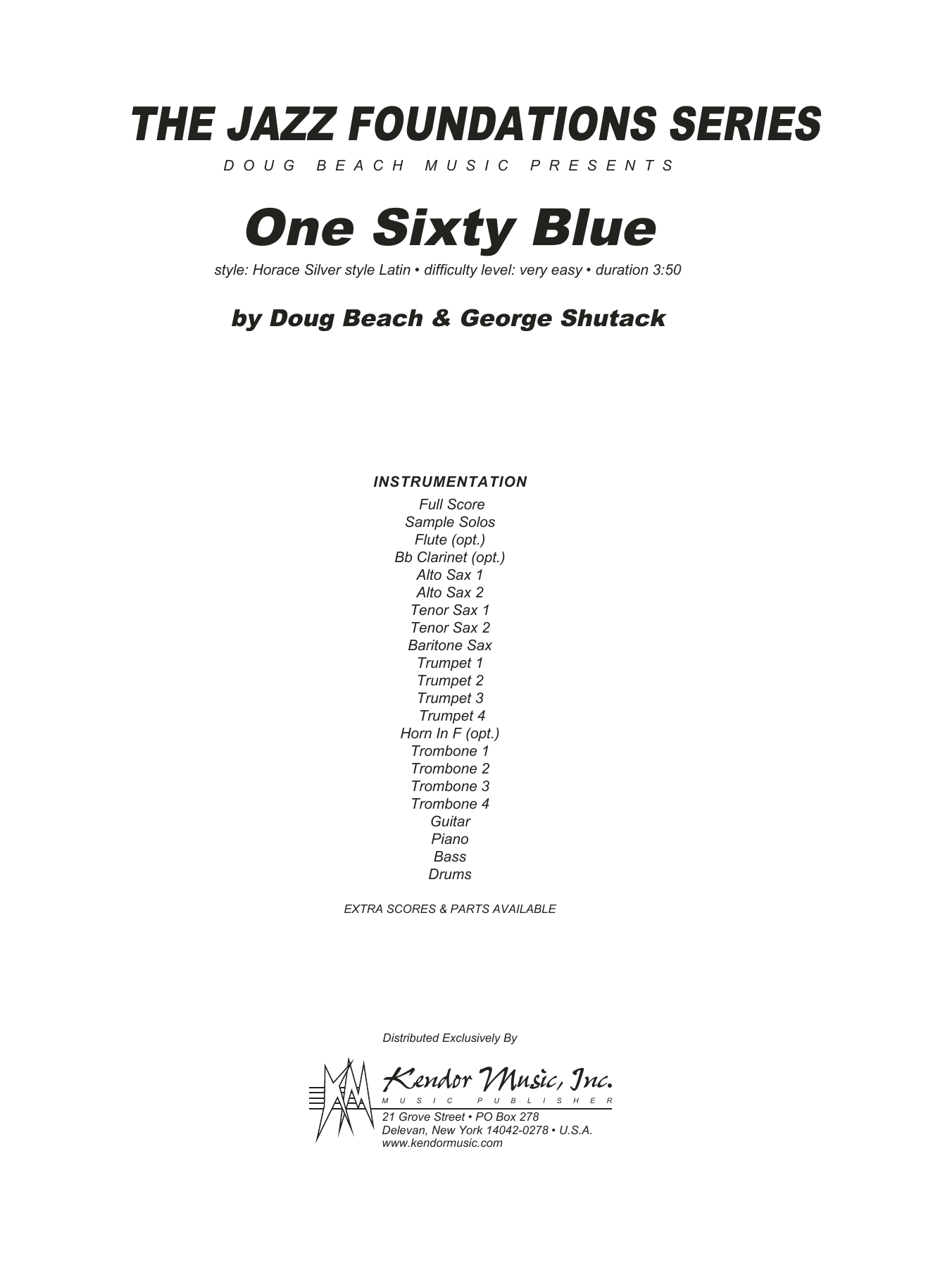 One Sixty Blue (COMPLETE) sheet music for jazz band by Doug Beach and George Shutack. Score Image Preview.