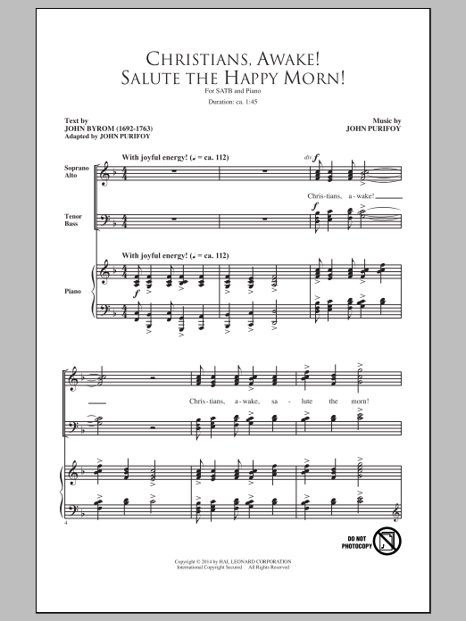 Christians, Awake! Salute The Happy Morn Sheet Music