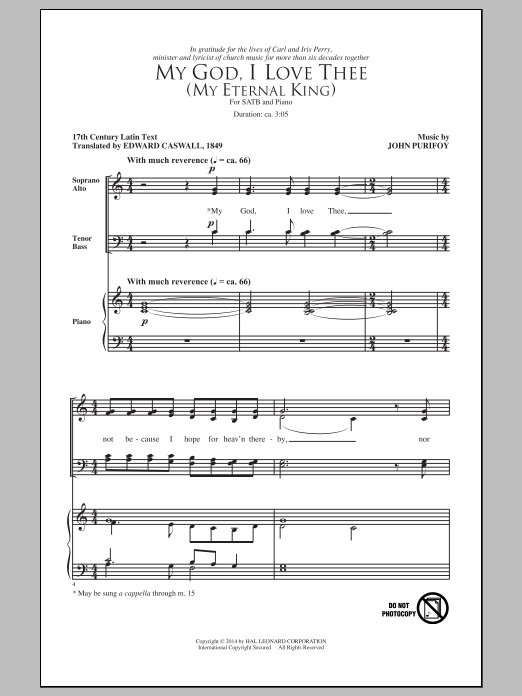 My God, I Love Thee (My Eternal King) Sheet Music