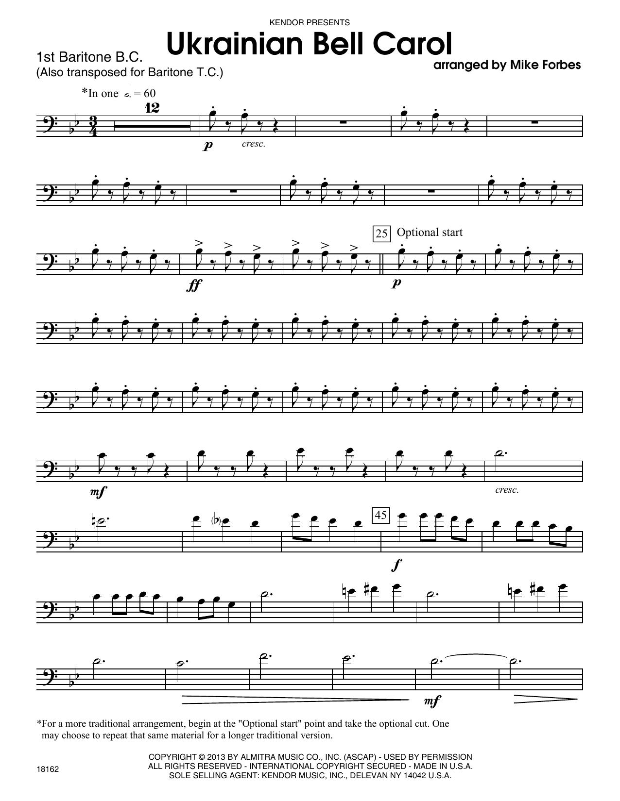 Ukrainian Bell Carol - 1st Baritone B.C. Sheet Music