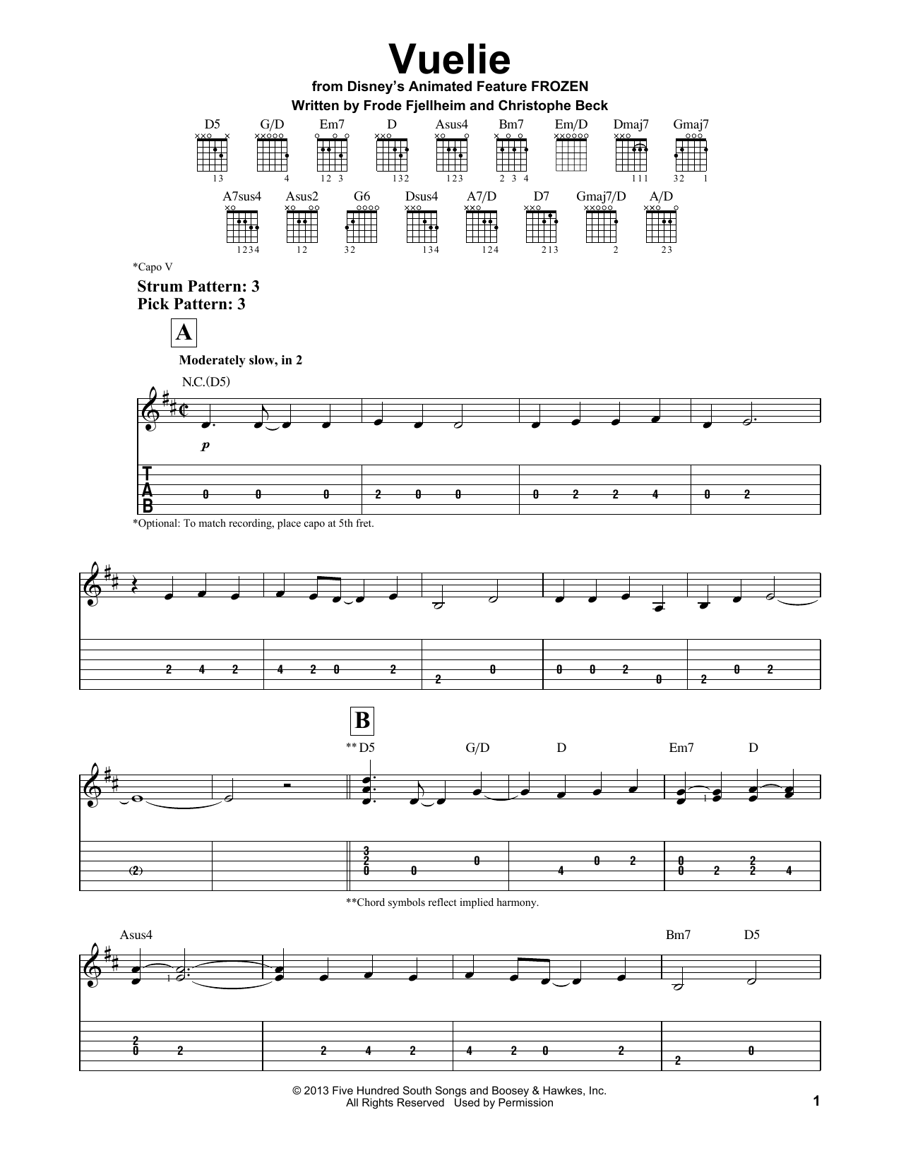 Vuelie (from Frozen) (Easy Guitar Tab)