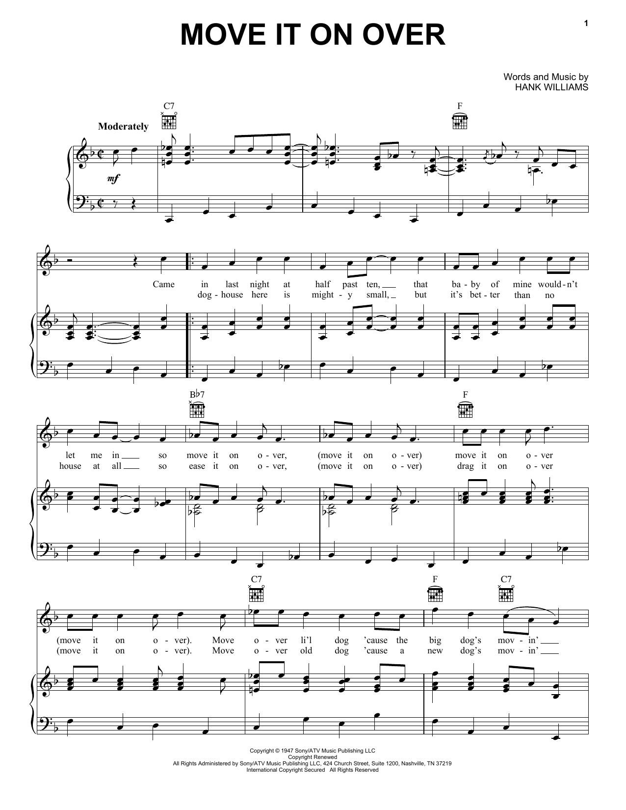 Move It On Over Sheet Music