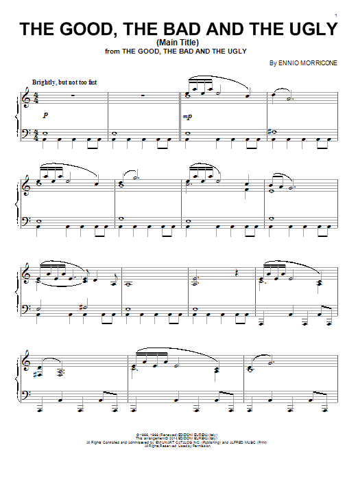 The Good, The Bad And The Ugly (Main Title) Sheet Music