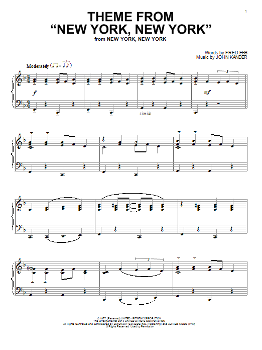"Theme From ""New York, New York"" Sheet Music"