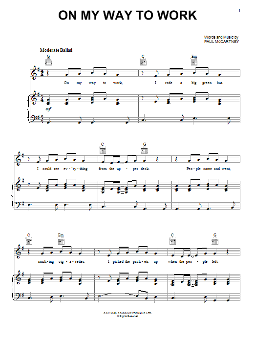 On My Way To Work Sheet Music