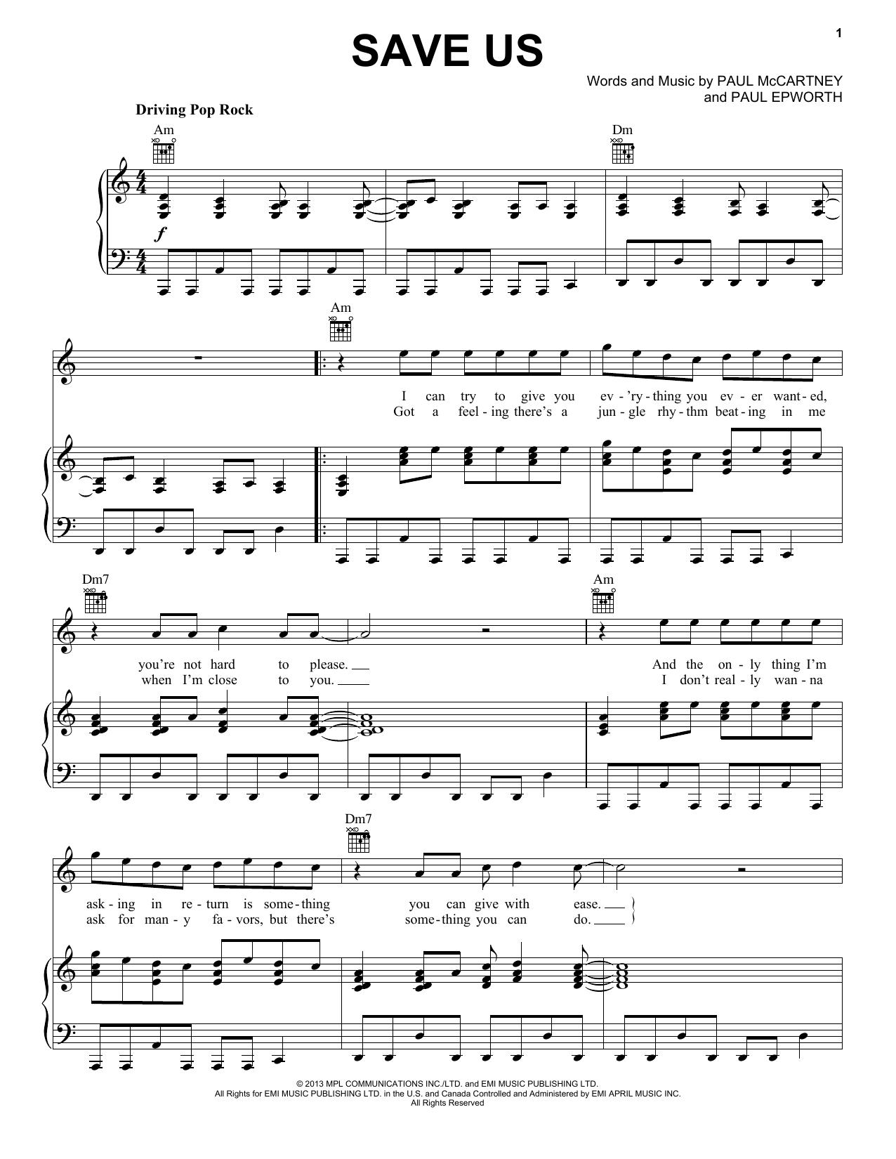 Partition piano Save Us de Paul McCartney - Piano Voix Guitare (Mélodie Main Droite)