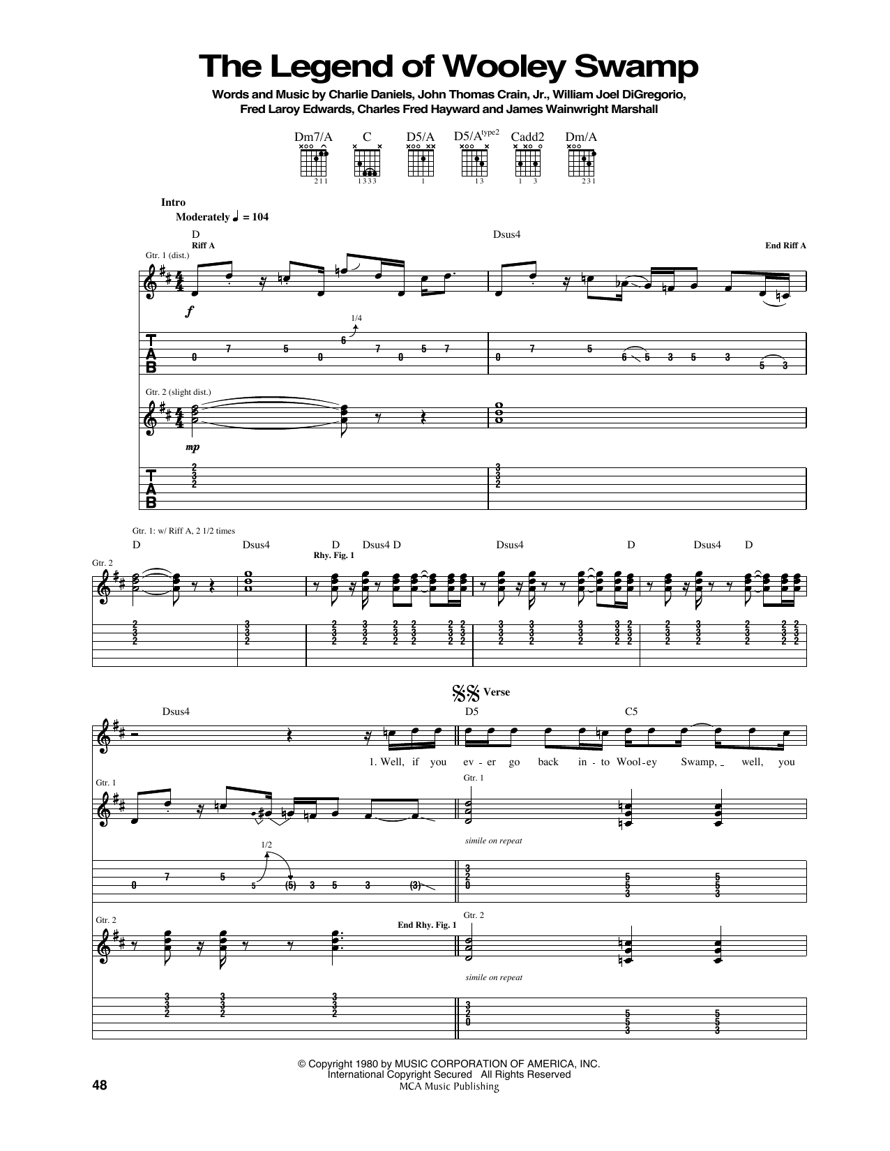 The Legend Of Wooley Swamp (Guitar Tab)