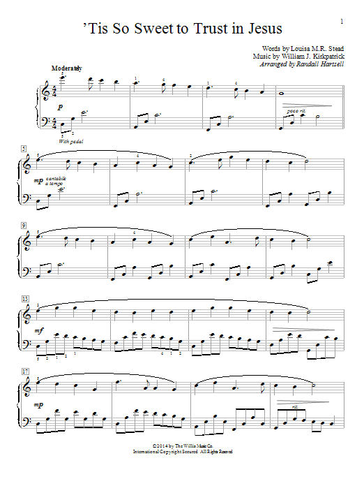 Partition piano 'Tis So Sweet To Trust In Jesus de Randall Hartsell - Autre