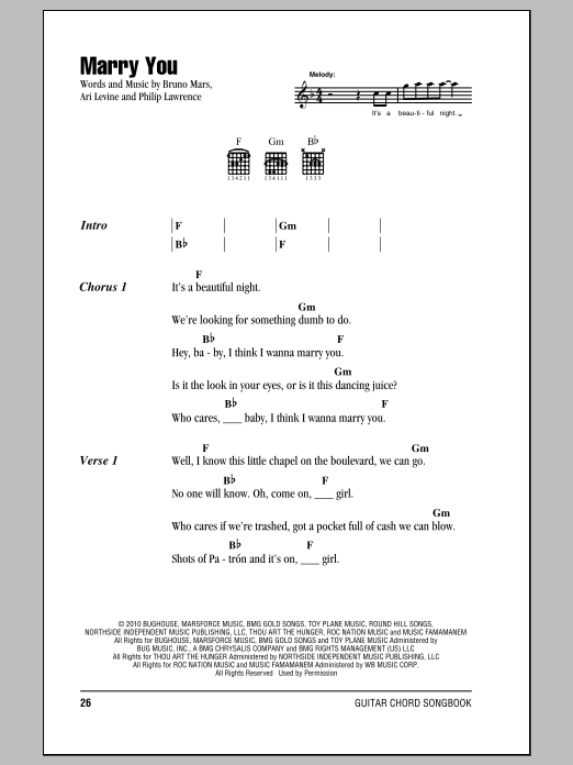 Marry You Sheet Music Direct