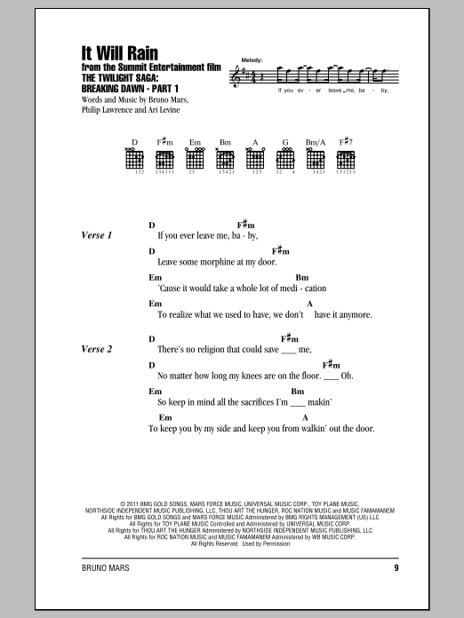 It Will Rain sheet music by Bruno Mars (Lyrics & Chords – 153314)