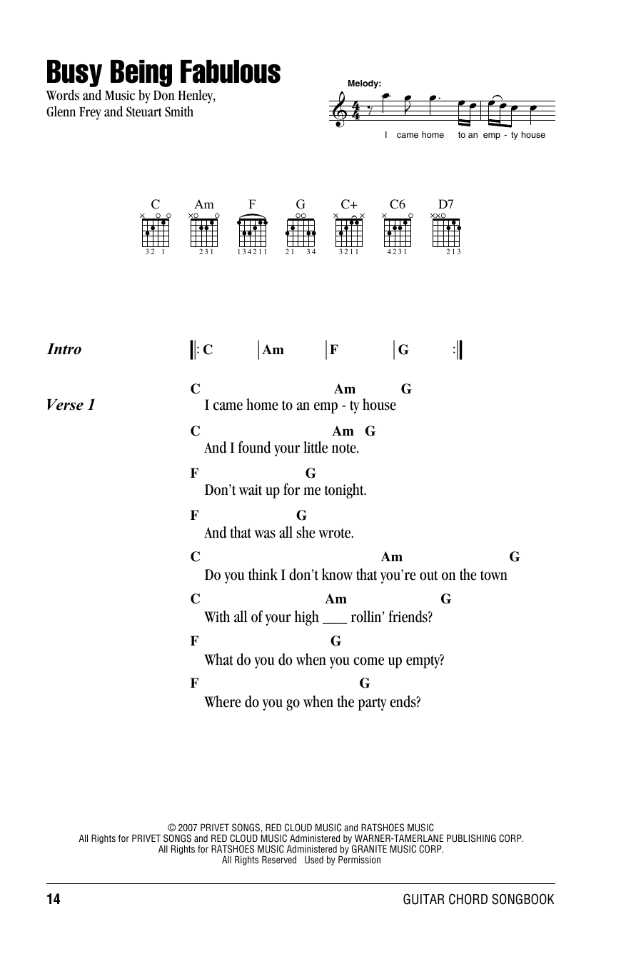 Busy Being Fabulous (Guitar Chords/Lyrics)