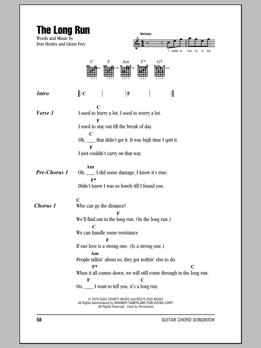 The Long Run Sheet Music
