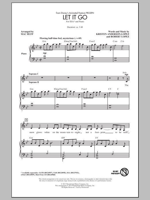 Let It Go (from Frozen) (arr. Mac Huff) Sheet Music