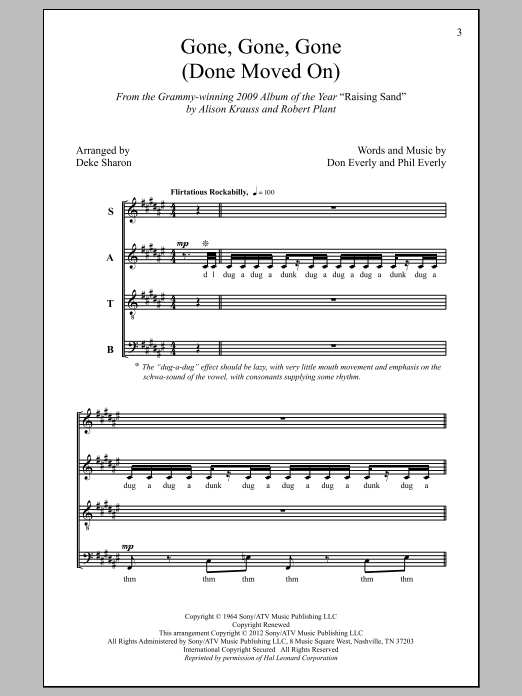 Gone, Gone, Gone (Done Moved On) Sheet Music