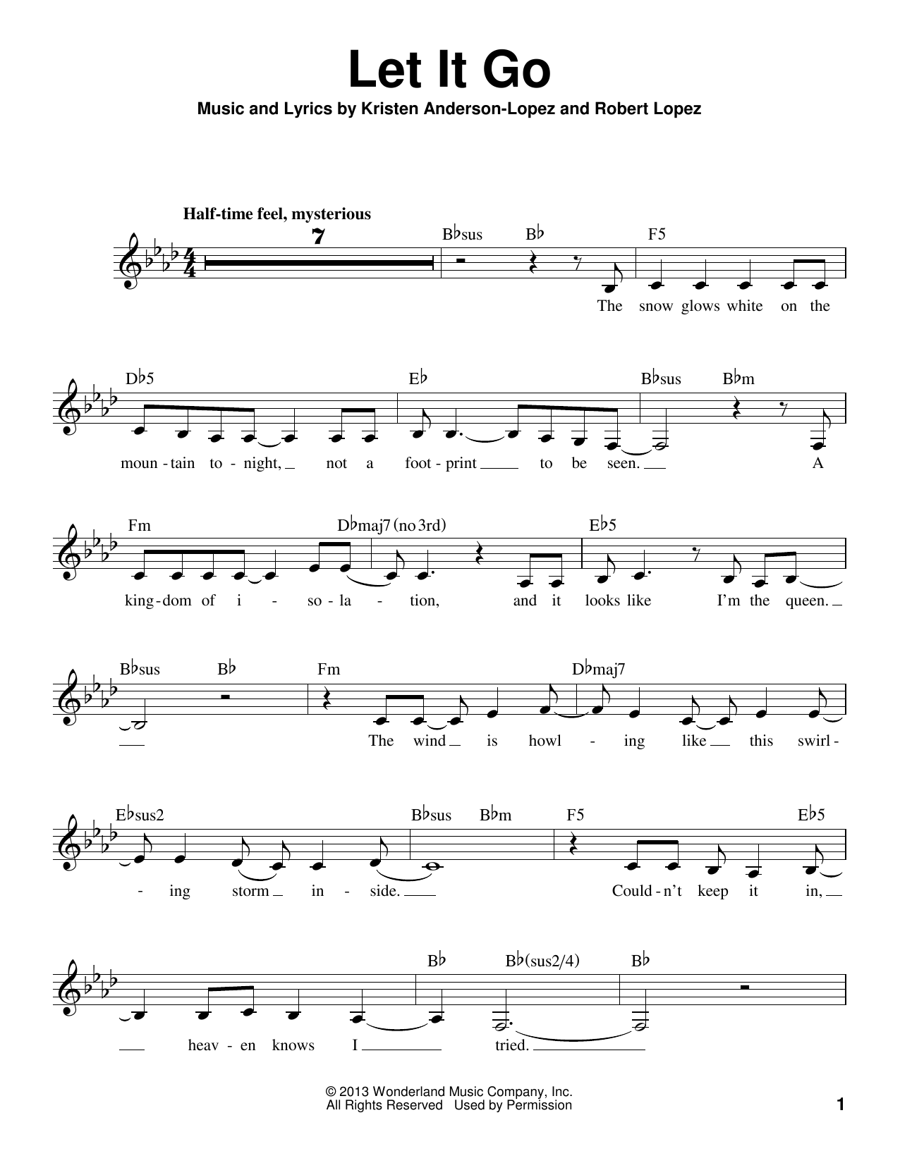 Let It Go Sheet Music
