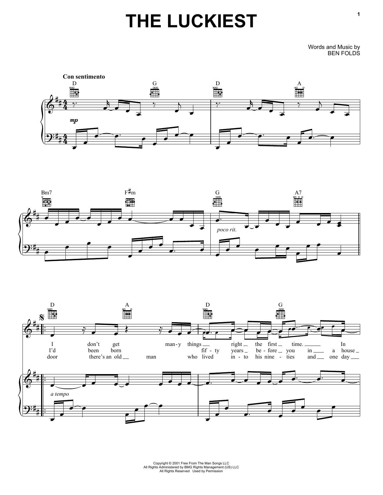 The Luckiest (Piano, Vocal & Guitar (Right-Hand Melody))