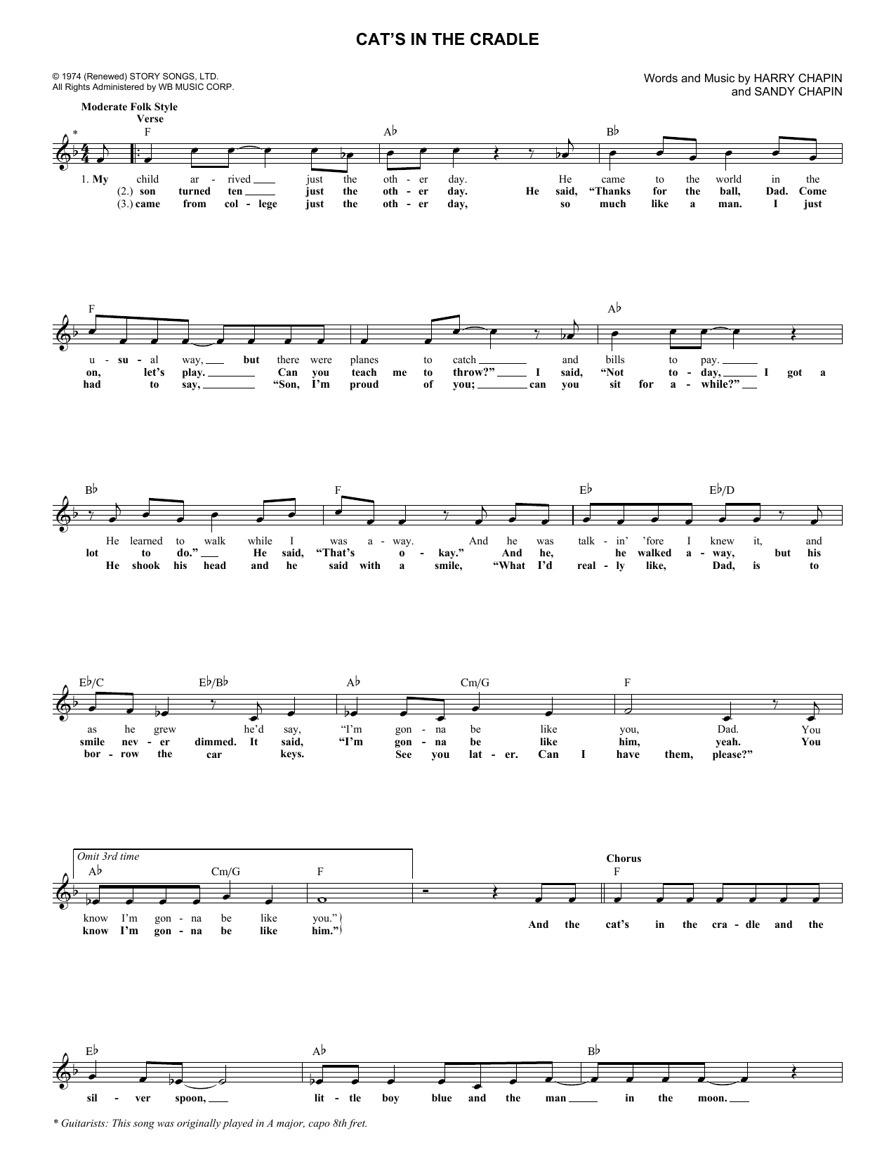 Cat's In The Cradle (Lead Sheet / Fake Book)