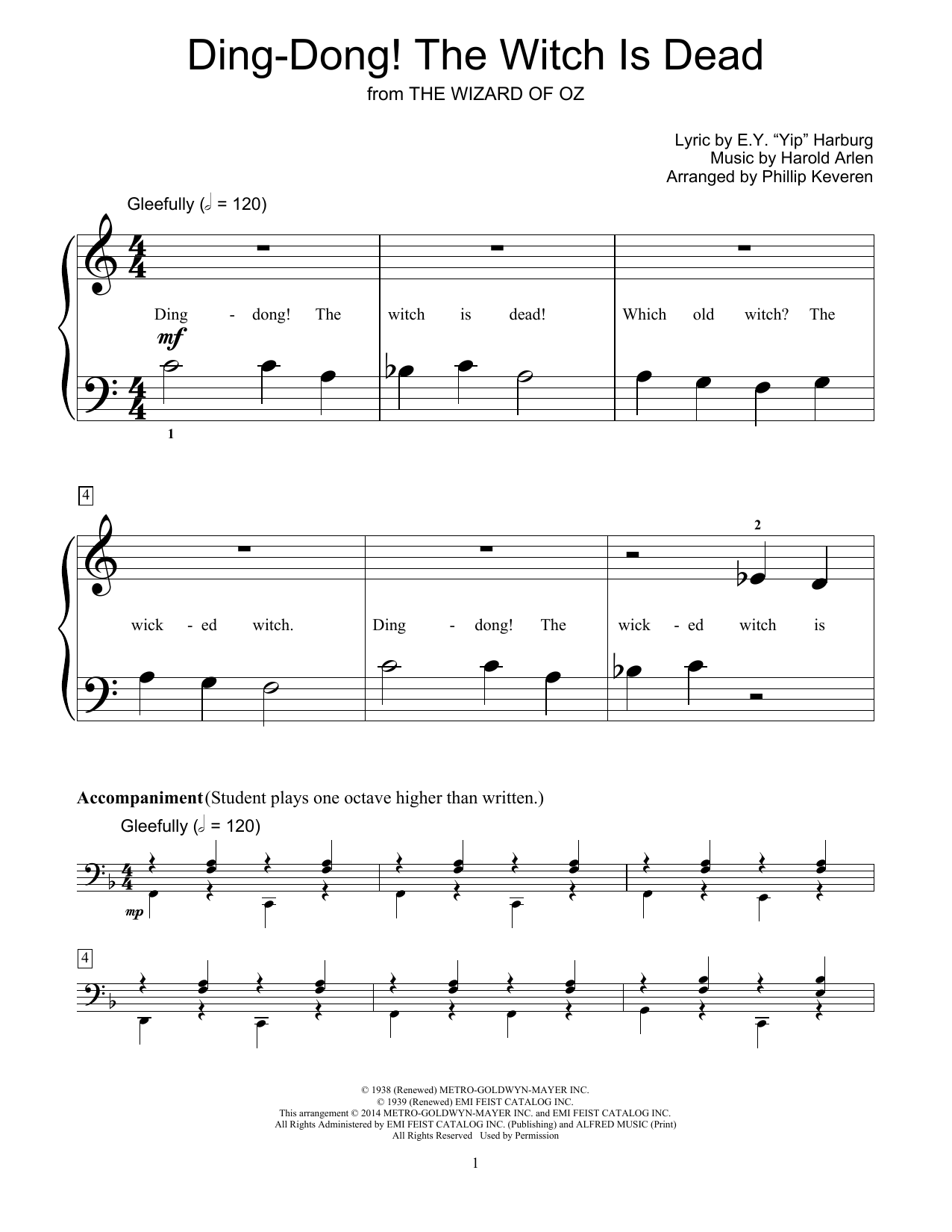 Partition piano Ding-Dong! The Witch Is Dead de Harold Arlen - Autre
